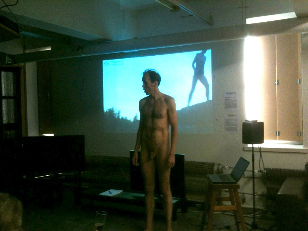 "Jussi in the nude singing Schubert's ""Der Wegveiser"" at the opening party."