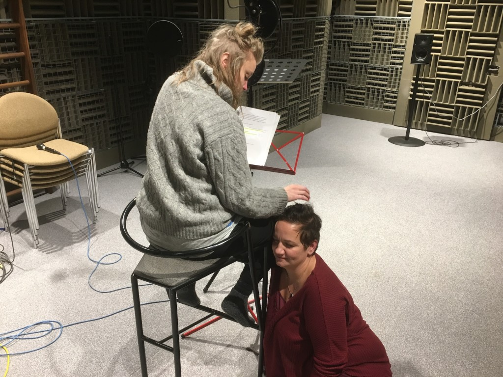 For the feeling of stroking someone's hair you sometimes need a real head to make it sound right. My friend and colleague Jonna Wikström visited the recording session and I asked her to act as the head.